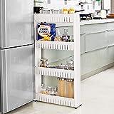 Taylor & Brown®, Mobiletto porta oggetti sottile ed estraibile per cucina o bagno, con ripiani, su ruote, plastica, 4 ripiani