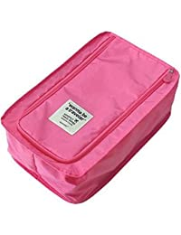Lemish Multi-purpose Portable Foldable Travel Shoe Pouch Travel Organizer Organizer Shoe Bag-Pink