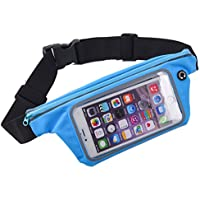 King of Flash Sweatproof [Blue] Sports Running, Jogging, Marathon Fanny Pack Bum Waist Bag Phone Carrier Belt with Transparent Touch Screen Window for Mobile Smartphones Upto 4.7""