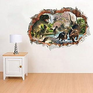 Ufengke Home Dinosaurier Im Der Fluss Wandaufkleber 3D Spiegel Ansicht  Durchbrechen Die Mauer Vinyl Wandsticker Entfernbarer