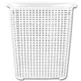 Wäschetruhe - Wäschekiste - Wäschesammler - Wäschekorb Rattan 45L mit Farbauswahl (45L Weiß)