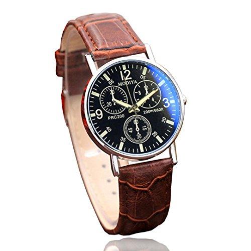Herrenuhr Sechs Pin Leder Quarz Uhren,Hevoiok Neu Modern Exquisit Blaues Glas Gürtel Herren Armbanduhr (Braun)