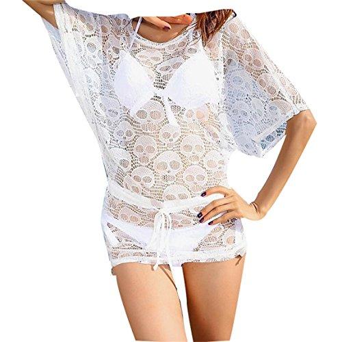 tzen Kimono Negligee Reizwäsche Nachtkleid Nachtmantel Negligee Dessous Babydoll weiß (L) (Die Unglaublichen Kostüm Für Baby)