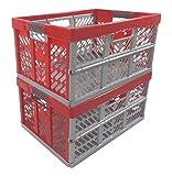 2 x Profi - Klappbox TÜV zert. 45 L bis 50 kg silber / rot Faltbox Kunststoff Box Kiste