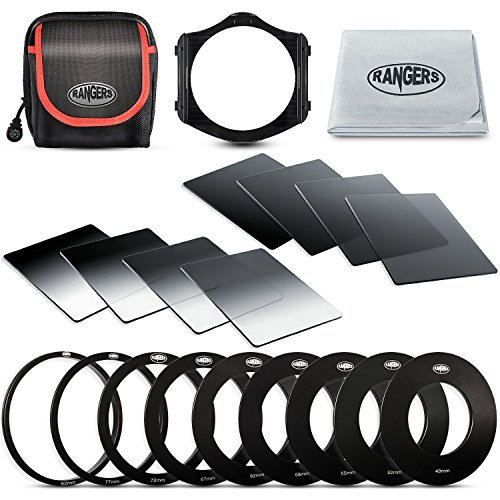 Rangers Clarity-Serie ND Filter-Kit beinhaltet Voll ND2, ND4, ND8, ND16 Filter + Staffel ND2, ND4, ND8, ND16 Filter + 9 Filter-Adapter (49-82mm) + 1 Adapter Halter (Nd Filter Film)