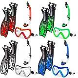 El set de esnórquel »Nixe« set de buceo : Gafas de buceo + aletas de natación + esnórquel / buceo / Swim Mask / Tubo respirador / Aletas / Conjunto de snorkel de aleta / es el equipo de esnórquel perfecto para adultos y jóvenes / azul - S