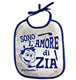 Bavaglino SONO L'AMORE DI ZIA - simpatica bavetta 100% cotone Fermento Italia (Blu)