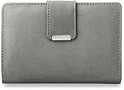 praktisches Damen - Portemonnaie Leder - Geldbörse (grau)
