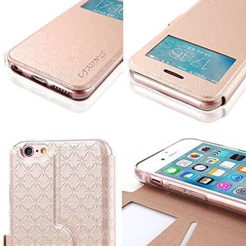 Handy-Schutzhülle mit Standfunktion aus Leder für Apple iPhone, Silikon, schwarz, iPhone 5/iPhone 5s gold