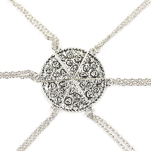 6pcs Antike Pizza Scheibe Anhänger Freundschaft Halskette - Silber Farbe (Beste Freunde 6 Stück Halskette)