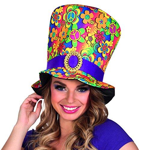 Sombrero Grande Colorido - Colorido | Sombrero de Copa Hippy | Accesorio Disfraz Hippie | Gorra Años 70