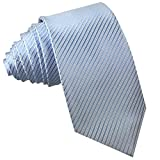 GASSANI Blaue Krawatte 10cm klassische Breite gestreift | Herrenkrawatte Hell-Blau zum Sakko | Schlips Binder einfarbig mit Streifen