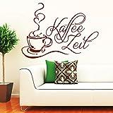Wandtattoo Loft 'Schriftzug 'Kaffee Zeit' mit Kaffeetasse' / Wandtattoo / Wandaufkleber / 54 Farben / 3 Größen / dunkelrot / 80 cm hoch x 110 cm breit
