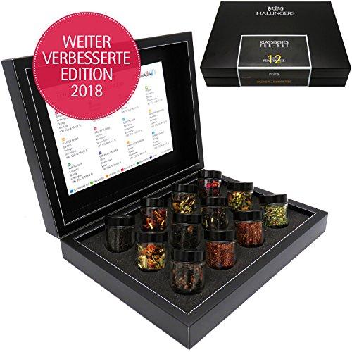 Hallingers 12er Tee-Geschenk-Set mit Tee aus aller Welt (120g) - Klassisches Tee-Set (Design-Karton)
