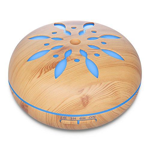 Diffusore di aromi, Seamei Umidificatore 550ML Diffusore di olio Essenziale ad Ultrasuoni Aromaterapia Ionizzatore e Purificatore d'aria Lampada giorno/notte, 7 Colori LED, 4 Impostazioni Tim
