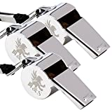H&S 3 Whistles - Referee Whistle - Sports Whistle Metal Coach Whistle with Lanyard for Football Stainless Steel