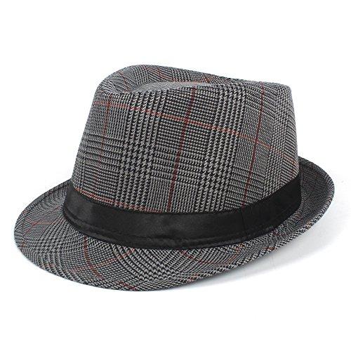 XHD-Hüte Mode Männer Baumwolle Plaid Fedora Hut für Vater Gentleman Sun Homburg Hut Größe 58 cm Mode und Persönlichkeit (Farbe : Silver, Größe : 58 cm) (Baumwolle Plaid Fedora-hut)