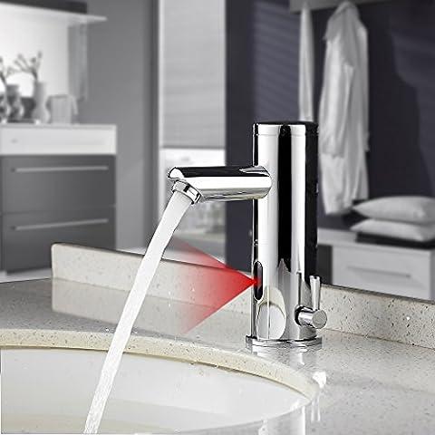 [Auralum] Automatischer Sensor Wasserhahn Infrarot badarmaturen waschtischarmatur Mischbatterie 18,2cm