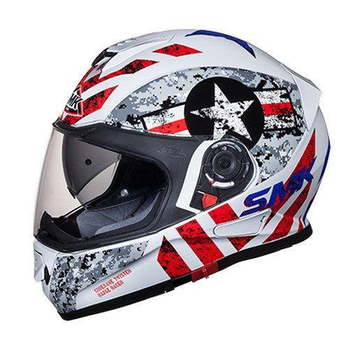 SMK GL163 Twister Captain Graphics Pinlock Fitted Full Face Helmet With Clear Visor (Gloss White, Grey and Red, XL)