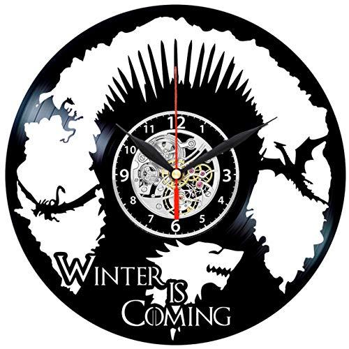 EVEVO Spiel Um Den Thron Wanduhr Vinyl Schallplatte Retro-Uhr groß Uhren Style Raum Home Dekorationen Tolles Geschenk Wanduhr Game of Thrones