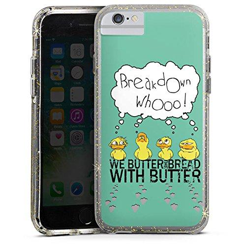 Apple iPhone 7 Bumper Hülle Bumper Case Glitzer Hülle We Butter The Bread with Butter Fanartikel Merchandise Fan Article Merchandise Bumper Case Glitzer gold
