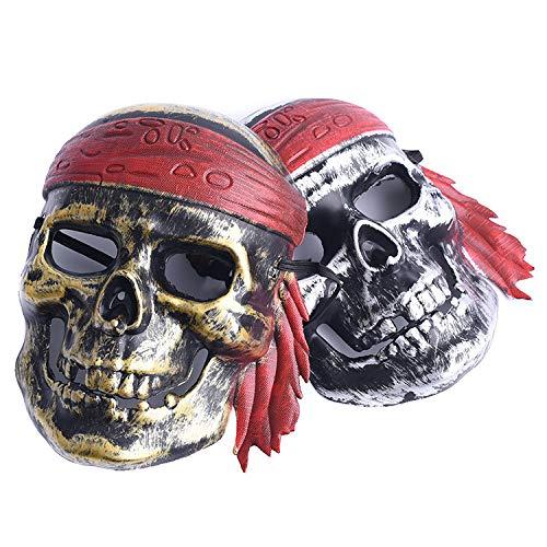 LBAFS Halloween Bar Maskerade Horror Scary Ghost Festival Taro Piraten Vintage Maske Für Männer und Frauen(2pcs)