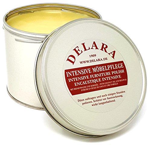DELARA Intensive Möbelpflege, sehr hochwertiges Möbelwachs mit Bienenwachs und Kokosöl, 500 ml, farblos - Made in Germany -