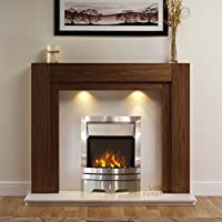 """Electric American Walnut Mantel Surround Cream Ivory Stone Effect Modern Wall Silver Steel Flame Fire Fireplace Suite Lights Spotlights 48"""""""