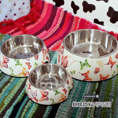 Pet Supplies,Raised Bowls & Feeding Stations for Dogs,Dog Bowls,Dogs,Cat Bowls,AnimalsPet supplies, rice bowl, single bowl, plastic color feeding bowl, butterfly pattern, large size 17.5*22*7.5cm