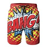 Personality Beach Pants Shorts Amazing Bang! Comic Word Men's/Boys Casual Swim Trunks Short Elastic Waist Beach Pants with Pockets