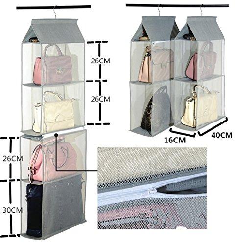 homeyuser Tasche Aufbewahrung Beutel abnehmbar Taschen, Handtasche Organizer Kleiderschrank Schrank Kleiderschrank-Organizer zum Aufhängen, 1Stück mit 4Taschen grau