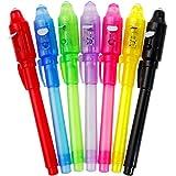 Goldge 7 Stück UV- Geheimstifte,Geheim Stift,unsichtbar schreiben,lesbar durch Licht