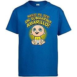 Camiseta nacido para ser un submarino amarillo Cádiz fútbol - Azul Royal, XXL