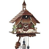 Schwarzwälder Kuckucksuhr aus Echtholz mit batteriebetriebenem Quartzwerk und Kuckuckruf - Angebot von Uhren-Park Eble - Engstler -Schwarzwaldhaus 29cm- 429 Q