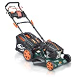 18' BMC Lawn Racer Self Propelled Electric Push Button Start Lithium Ion Battery 4.5HP 4 Stroke Rotary Petrol Lawn Mower with 60L Grass Collection Bag, All Steel Deck, 4 in 1 Function Cut, Cut & Collect, Mulch, Side Discharge