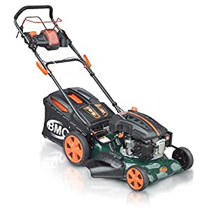 "18"" BMC Lawn Racer Self Propelled Electric Push Button Start Lithium Ion Battery 4.5HP 4 Stroke Rotary Petrol Lawn Mower with 60L Grass Collection Bag, All Steel Deck, 4 in 1 Function Cut, Cut & Collect, Mulch, Side Discharge"