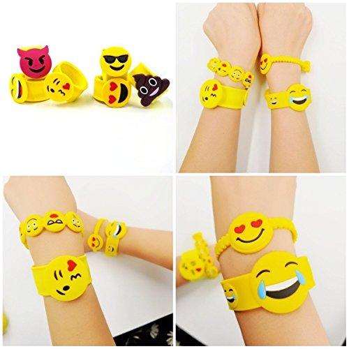 JZK Paquete de 28 Emoji slap pulsera de goma banda de emoticonos pulsera de silicona para los niños adultos fiesta favores partido llenador niños cumpleaños regalo partido suministra pequeños juguetes