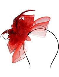 SODIAL(R) Serre Tete en Etoffe Gaze Fleur Rouge Deco Cheveux Coiffure Femme Mode
