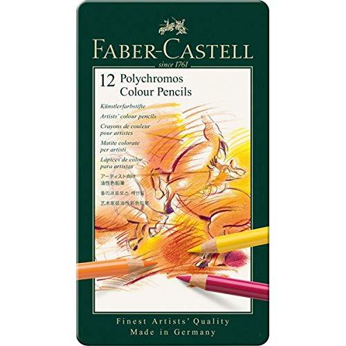 Faber-Castell 110012 - Künstlerfarbstift POLYCHROMOS, 12er Metalletui