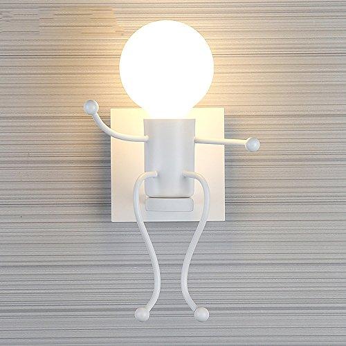 Kinder Wandleuchte Kreative Cartoon Moderne Einfache Innenwandleuchte Schlafzimmer Wohnzimmer Nacht Kinderzimmer Lichter ( Farbe : Weiß-A )