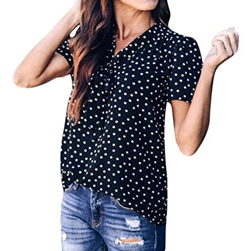TIFIY Frauen Polka-Punkt Bell Sleeve Flare Sleeve Bluse Sommer Mode Bogen T-Shirt Tops (Top Sleeve Bell)