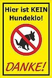 Schild – Hier ist kein Hundeklo – Danke – 15x10cm, 30x20cm und 45x30cm – Bohrlöcher Aufkleber Hartschaum Aluverbund -S00187-030-C