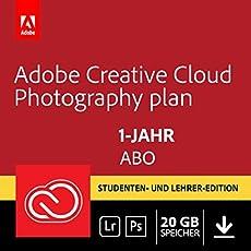 Adobe Creative Cloud Foto-Abo mit 20GB: Photoshop CC und Lightroom CC Student und Teacher | 1 Jahreslizenz | PC/Mac | Key Card & Download