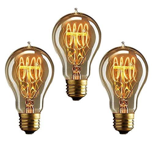 KJLARS 3X Vintage Edison Glühbirne Glühlampe E27 40W A19 Birne Für Retro Nostalgie Beliebte Dekoratives Leuchtmittel - A19 Birne