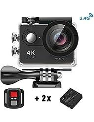 Action Kamera 4K HD Wifi Sport Kamera mit 2.4G Fernbedienung Wasserdicht Zubehör-Kit 2.0 LCD Wifi Sport Kamera 30M 1080P 60fps 170° mit Transporttasche 2 Batterien