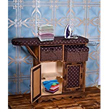 YATAI Solid Wood Iron Board with Shelves and Storage Boxes - Multi-Function Heat Resistant Home Folding Durable Woven Basket Deluxe Ironing Board Storage Cabinet - Literary Print (Brown)