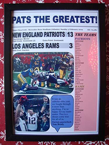 Sports Prints UK New England Patriots 13 Los Angeles Rams 3 - Super Bowl LIII - 2019 - Gerahmter Kunstdruck
