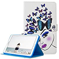 A-BEAUTY-AE Galaxy Tab A 10.5 Case, SM-T590 / T595 Cover, Painted Leather Stand wallet Smart Cover with Auto Sleep/Wake for Samsung Galaxy Tab A 10.5 2018 Tablet, Butterfly Girl