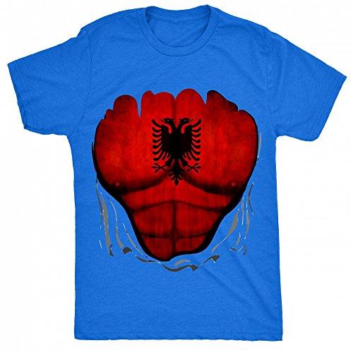 8TN Albania Flag Muscle Rip Damen T Shirt - Blau - XXL (You Tube Rip)