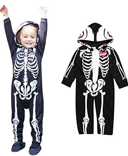 Weant Halloween Kostüm Baby Jungen Mädchen Neugeborenen Bodysuit Halloween Costume Kapuzenschädel Skeleton Spielanzug Zipper Overall Outfit (0-6 monate, Schwarz) (Kind Halloween Kostüme 0 3 Monate)
